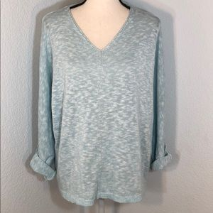Chico's Blue&White V-Neck Sweater Roll Up Sleeves